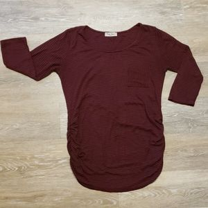 Maroon and navy striped M maternity shirt